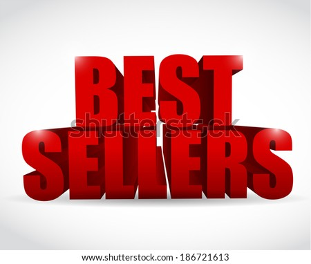 best seller red sign illustration design over a white background - stock photo
