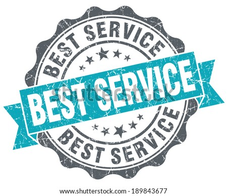 Best service blue grunge retro style isolated seal - stock photo