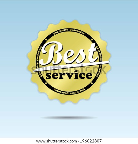Best service guarantee golden label and sticker on blue sky background - jpg. - stock photo