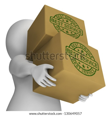Best Service Stamp On Boxes Showing Top Customer Assistance - stock photo