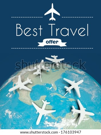 Best travel offer concept, airplanes on globe - stock photo