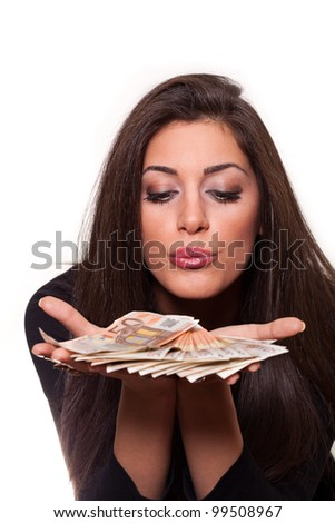 Best way to earn money... Euro money from beautiful young girl. - stock photo