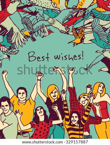 Best wishes happy people color card. Group of active happy people and sign illustration. - stock photo