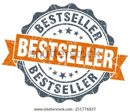 bestseller orange vintage seal isolated on white - stock photo