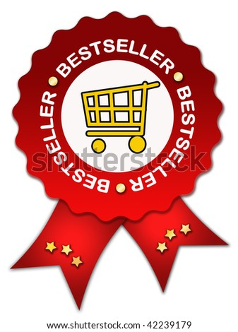 Bestseller sign with ribbon - stock photo