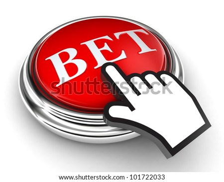 bet red button and cursor hand on white background. clipping paths included - stock photo