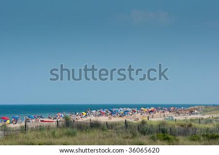 Bethany Beach Delaware, very crowded Delaware shore - stock photo