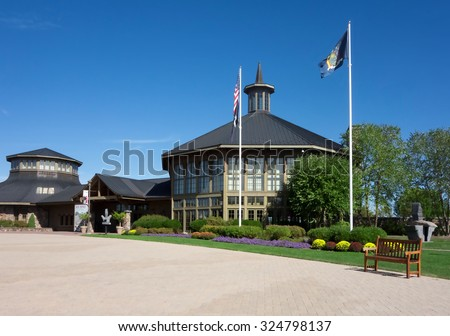 BETHEL, NEW YORK:  The Bethel Woods Center for the Arts on the historic site of the original Woodstock Music Festival, opened in 2006. It also houses The Museum at Bethel Woods.  September 27, 2015. - stock photo