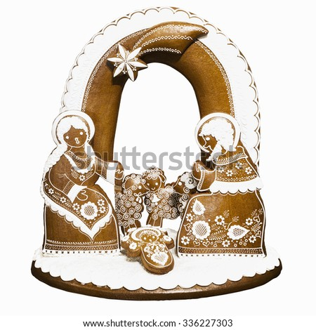 Bethlehem gingerbread home-made, traditional in the Czech Republic. Handcarved - stock photo