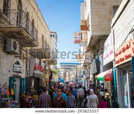 BETHLEHEM, PALESTINE - JUNE 2, 2015: The streets of the old city of Bethlehem. June 2, 2015. Bethlehem, Palestine. - stock photo