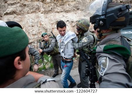 BETHLEHEM, PALESTINIAN TERRITORY - NOVEMBER 14: Israeli forces arrest a Palestinian activist during a demonstration near Bethlehem, West Bank, November 14, 2012. - stock photo