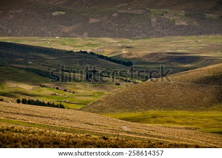 Beuatiful landscape along the foothills of Chimborazo volcano in Ecuador - stock photo