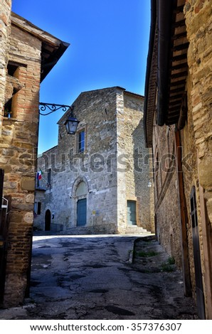 Bevagna, medieval walled town, Umbria region, Italy - stock photo