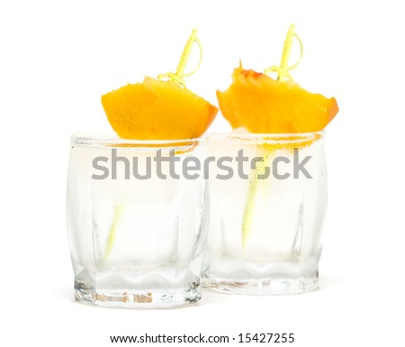 beverage with ice and peach - stock photo