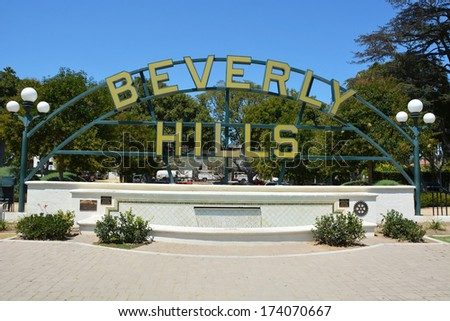 BEVERLY HILLS, CA - AUG 21: Famous Beverly Hills sign, Ca on Aug. 21, 2013. Beverly Hills is world-famous for its luxurious culture and famous residents - stock photo