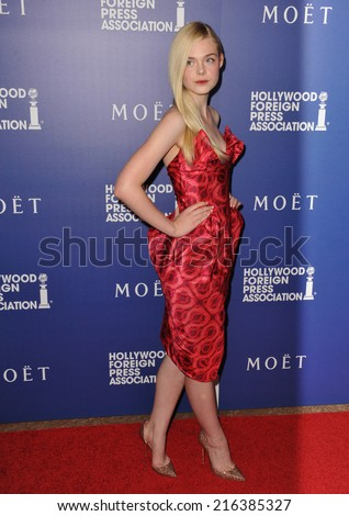 BEVERLY HILLS, CA - AUGUST 14, 2014: Actress Elle Fanning at the Hollywood Foreign Press Association's annual Grants Banquet at the Beverly Hilton Hotel.  - stock photo