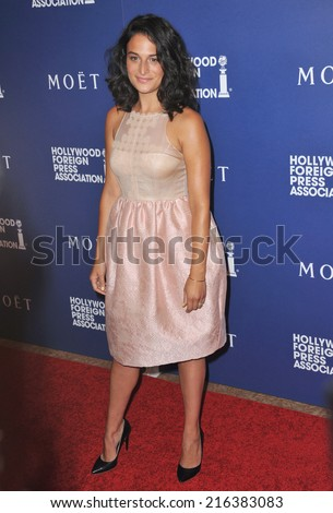 BEVERLY HILLS, CA - AUGUST 14, 2014: Actress Jenny Slate at the Hollywood Foreign Press Association's annual Grants Banquet at the Beverly Hilton Hotel.  - stock photo