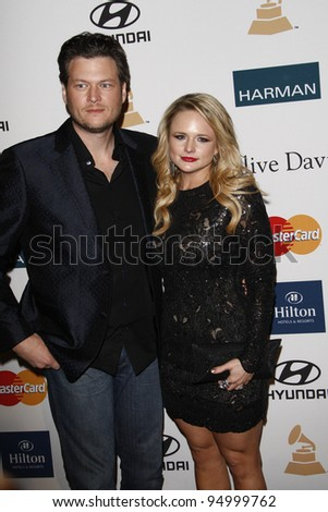 BEVERLY HILLS, CA - FEB 11: Blake Shelton; Miranda Lambert at the Clive Davis and the Recording Academy's 2012 Pre-GRAMMY Gala on February 11, 2012 in Beverly Hills, California - stock photo