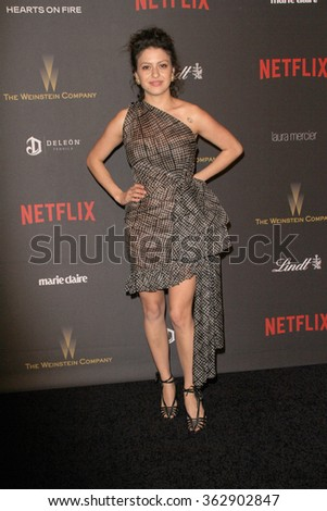 BEVERLY HILLS, CA - JAN. 10: Alia Shawkat arrives at the Weinstein Company and Netflix 2016 Golden Globes After Party on Sunday, January 10, 2016 at the Beverly Hilton Hotel in Beverly Hills, CA.  - stock photo
