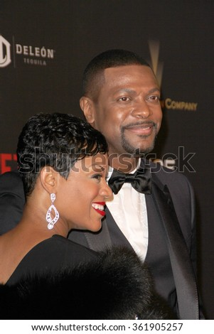 BEVERLY HILLS, CA - JAN. 10: Cynne Simpson & Chris Tucker arrive at the Weinstein Company & Netflix 2016 Golden Globes After Party on January 10, 2016 at the Beverly Hilton Hotel, Beverly Hills, CA.  - stock photo