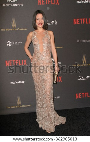 BEVERLY HILLS, CA - JAN. 10: Emmanuelle Vaugier arrives at the Weinstein Company and Netflix 2016 Golden Globes After Party on Sunday, Jan. 10, 2016 at the Beverly Hilton Hotel in Beverly Hills, CA.  - stock photo