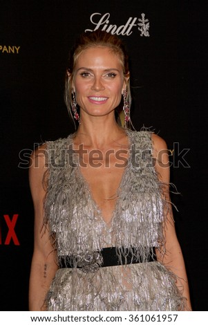 BEVERLY HILLS, CA - JAN. 10: Heidi Klum arrives at the Weinstein Company and Netflix 2016 Golden Globes After Party on Sunday, January 10, 2016 at the Beverly Hilton Hotel in Beverly Hills, CA. - stock photo