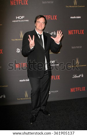 BEVERLY HILLS, CA - JAN. 10: Quentin Tarantino arrives at the Weinstein Company and Netflix 2016 Golden Globes After Party on Sunday, January 10, 2016 at the Beverly Hilton Hotel, Beverly Hills, CA.  - stock photo