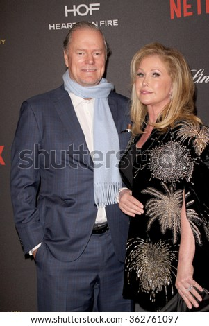 BEVERLY HILLS, CA - JAN. 10: Rick Hilton and Kathy Hilton arrive at the Weinstein Company and Netflix 2016 Golden Globes After Party, Jan. 10, 2016 at the Beverly Hilton Hotel in Beverly Hills, CA.  - stock photo