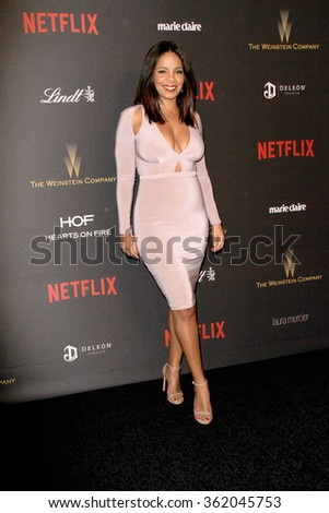BEVERLY HILLS, CA - JAN. 10: Sanaa Lathan arrives at the Weinstein Company and Netflix 2016 Golden Globes After Party on Sunday, January 10, 2016 at the Beverly Hilton Hotel in Beverly Hills, CA.  - stock photo