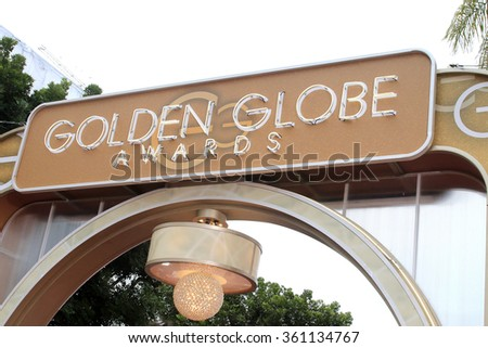 BEVERLY HILLS, CA - JANUARY 10: Golden Globes Awards sign at the 73rd Annual Golden Globe Awards at the Beverly Hilton Hotel on January 10, 2016 in Beverly Hills, California - stock photo