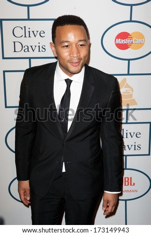BEVERLY HILLS, CA. - JANUARY 25: John Legend arrives at the Clive Davis and The Recording Academy annual Pre-GRAMMY Gala on January 25th 2014 at the Beverly Hilton in Beverly Hills, California. - stock photo