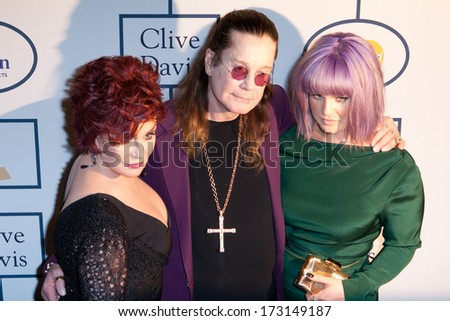 BEVERLY HILLS, CA. - JANUARY 25: Sharon, Kelly & Ozzy Osbourne arrive at the Clive Davis & The Recording Academy annual Pre-GRAMMY Gala on January 25th 2014 at the Beverly Hilton in Beverly Hills. - stock photo