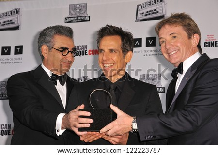 BEVERLY HILLS, CA - NOVEMBER 15, 2012: Eugene Levy (left), Ben Stiller & Martin Short at the 26th Annual American Cinematheque Awards Ceremony honoring Ben Stiller at the Beverly Hilton Hotel. - stock photo