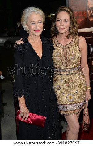 """BEVERLY HILLS, CA - OCTOBER 27, 2015: Dame Helen Mirren & Diane Lane (right) at the US premiere of their movie """"Trumbo"""" at the Academy of Motion Picture Arts & Sciences - stock photo"""