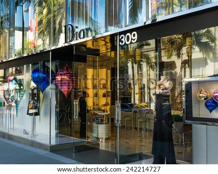 BEVERLY HILLS, CA/USA - JANUARY 3, 2015: Christian Dior retail store exterior. Dior is a luxiry retailer of apparel, fashion accessories, footwear, jewelry and couture. - stock photo