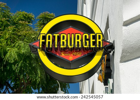 BEVERLY HILLS, CA/USA - JANUARY 3, 2015: Fatburger Restaurant and Sign. Fatburger Inc. is an American fast casual restaurant chain. - stock photo