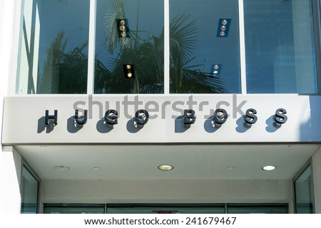 BEVERLY HILLS, CA/USA - JANUARY 3, 2015: Hugo Boss retail store exterior. Hugo Boss is a German luxury fashion and style house named after its founder Hugo Boss. - stock photo