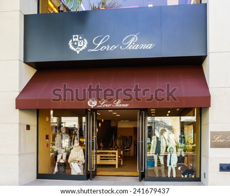 BEVERLY HILLS, CA/USA - JANUARY 3, 2015: Loro Piana retail store exterior. Loro Piana is an Italian clothing company specialising in high-end, luxury cashmere and wool products. - stock photo
