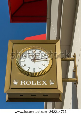BEVERLY HILLS, CA/USA - JANUARY 3, 2015: Rolex retail store exterior. Rolex designs, manufacturers, distributes and services wristwatches sold under the Rolex and Tudor brands. - stock photo
