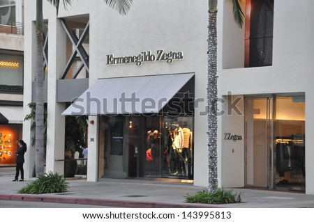 BEVERLY HILLS, CALIFORNIA - DECEMBER 7: Ermenegildo Zegna store at Rodeo Drive as seen on December 7, 2012 in Beverly Hills, California. There are more than 100 world-renowned boutiques in this area. - stock photo