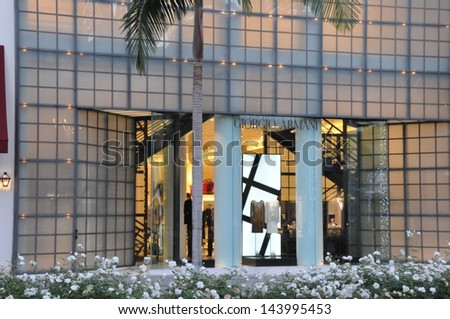 BEVERLY HILLS, CALIFORNIA - DECEMBER 7: Giorgio Armani store at Rodeo Drive as seen on December 7, 2012 in Beverly Hills, California. There are more than 100 world-renowned boutiques in this area. - stock photo