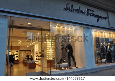 BEVERLY HILLS, CALIFORNIA - DECEMBER 7: Salvatore Ferragamo store at Rodeo Drive as seen on December 7, 2012 in Beverly Hills, California. There are more than 100 world-renowned boutiques here. - stock photo