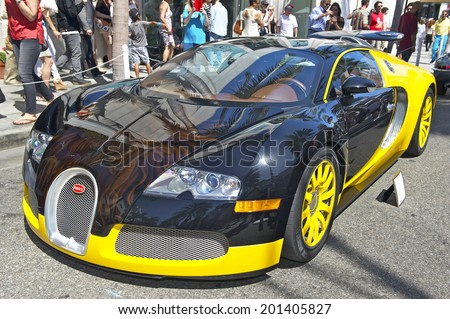 """BEVERLY HILLS, CALIFORNIA - JUNE 15, 2014: 2008 Bugatti Veyron """"Bijan Edition"""" owned by Bijan at the Rodeo Drive Concours D'Elegance on June 15, 2014 Beverly Hills, California, USA  - stock photo"""