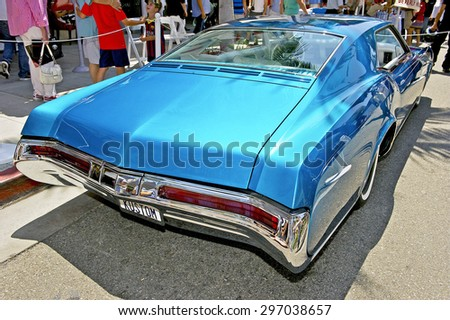 "BEVERLY HILLS, CALIFORNIA - JUNE 21, 2015: 1968 Buick Riviera Custom ""The Pantheon"" on display at the Rodeo Drive Concours D'Elegance on June 21, 2015 Beverly Hills, California, USA - stock photo"