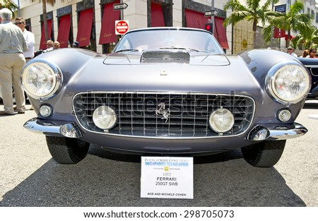 BEVERLY HILLS, CALIFORNIA - JUNE 21, 2015: 1962 Ferrari 250GT SWB on display at the Rodeo Drive Concours D' Elegance on June 21, 2015 Beverly Hills, California, USA - stock photo