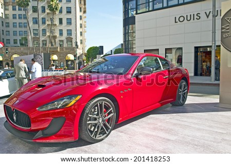 BEVERLY HILLS, CALIFORNIA - JUNE 15, 2014: 2014 Maserati GranTurismo MC- Centennial Edition Coupe at the Rodeo Drive Concours D'Elegance on June 15, 2014 Beverly Hills, California, USA  - stock photo
