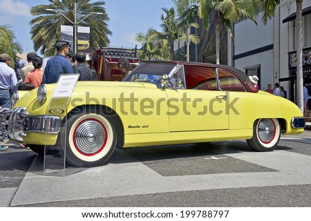 BEVERLY HILLS, CALIFORNIA - JUNE 15, 2014: 1953 Muntz Jet Convertible at the Rodeo Drive Concours D'Elegance on  June 15, 2014 Beverly Hills, California, USA. - stock photo
