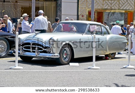 """BEVERLY HILLS, CALIFORNIA - JUNE 21, 2015: 1952 Packard """"Pinin Farina Coupe"""" on display at the Rodeo Drive Concours D'Elegance on June 21, 2015 Beverly Hills, California, USA - stock photo"""