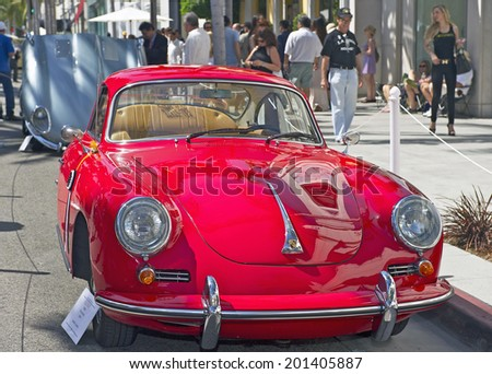 BEVERLY HILLS, CALIFORNIA - JUNE 15, 2014: 1963 Porsche 356 B Coupe owned by Jaime Juarez at the Rodeo Drive Concours D'Elegance on June 15, 2014 Beverly Hills, California, USA  - stock photo