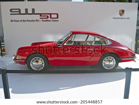 BEVERLY HILLS/CALIFORNIA - JUNE 16, 2013: Porsche 911/50 Carrera celebrating its' 50th Anniversary. On display at the Concours D'Elegance. June 16, 2013 Beverly Hills, California USA - stock photo